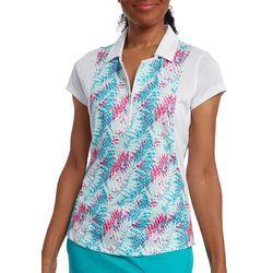 Pebble Beach Womens Solid & Palm Print Polo Shirt