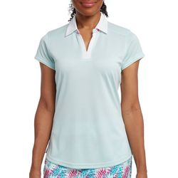 Pebble Beach Womens Solid Textured Polo Shirt