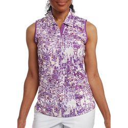 Pebble Beach Womens Sleeveless Mixed Dot Polo Shirt