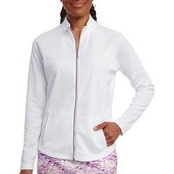 Pebble Beach Womens Solid Zip Up Jacket