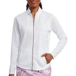 Pebble Beach Womens Solid Zip Up Jacket