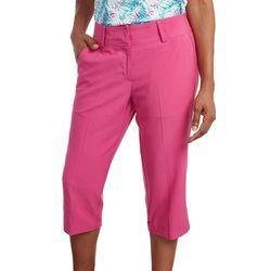 Pebble Beach Womens Solid Straight Leg Capris