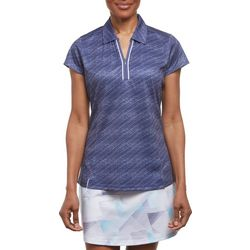 Pebble Beach Womens Scratched Striped Polo Shirt