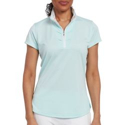 Pebble Beach Womens Solid Zipper Collar Polo Shirt