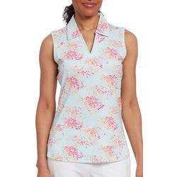 Pebble Beach Womens Floral Stripe Sleeveless Polo Shirt
