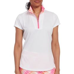 Pebble Beach Womens Solid & Plaid Print Polo Shirt