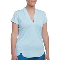 Pebble Beach Womens Solid Panel Detail Short Sleeve