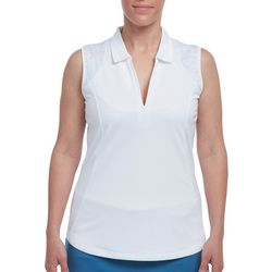 Pebble Beach Womens Subtle Stripe Sleeveless Polo Shirt