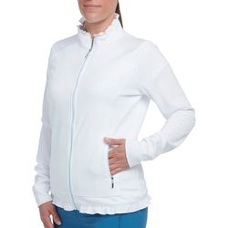 Pebble Beach Womens Solid Ruffle Trim Zip Up Jacket