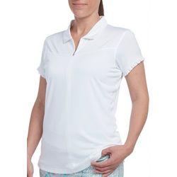 Pebble Beach Womens Solid Ruffle Trim Polo Shirt