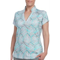Pebble Beach Womens Geometric Print Short Sleeve Polo Shirt