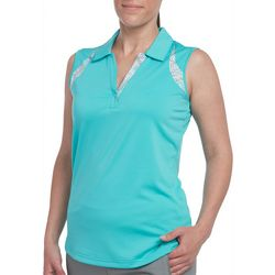 Pebble Beach Womens Solid Geo Detail Sleeveless Polo Shirt