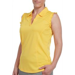 Pebble Beach Womens Solid Ruffle Trim Sleeveless Polo Shirt