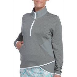 Pebble Beach Womens Solid Asymmetrical Hem Quarter Zip Top
