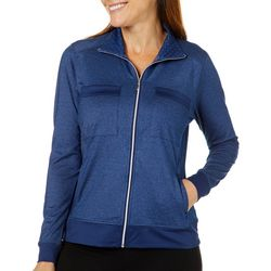 Pebble Beach Womens Dot Print Detail Zip Up Jacket
