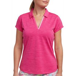 Pebble Beach Womens Solid Heather Dot Polo Shirt