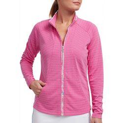 Pebble Beach Womens Pinstripe Zip Up Jacket