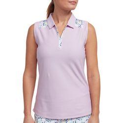 Pebble Beach Womens  Geo Detail Sleeveless Polo Shirt