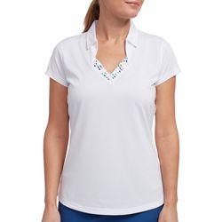 Pebble Beach Womens Dot Detail V-Neck Polo Shirt