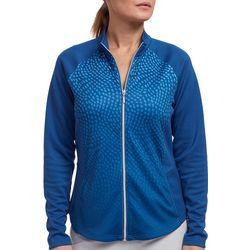 Pebble Beach Womens Dot Print Raglan Sleeve Zip Up Jacket