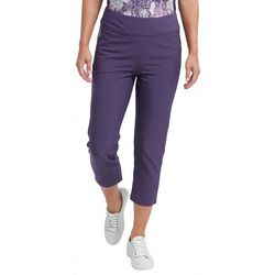 Pebble Beach Womens Solid Straight Leg Pull On Capris
