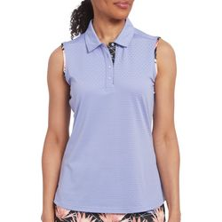 Pebble Beach Womens Solid Palm Trim Sleeveless Polo Shirt