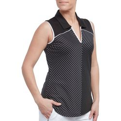 Pebble Beach Womens Striped Sleeveless Polo Shirt