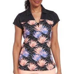 Pebble Beach Womens Geo Floral Short Sleeve Polo Shirt