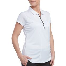 Pebble Beach Womens Solid Zip Front Short Sleeve Polo Shirt
