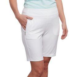 Pebble Beach Womens Solid Pull On Bermuda Shorts
