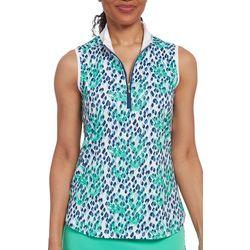 Pebble Beach Womens Sleeveless Leaf Print Shirt