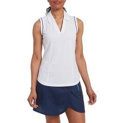 Pebble Beach Womens Solid Piping Trim Sleeveless Shirt