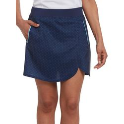 Pebble Beach Womens Dot Print Pull On Skort