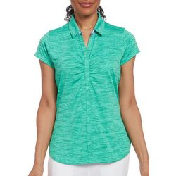 Pebble Beach Womens Solid Shirred Heathered Polo Shirt