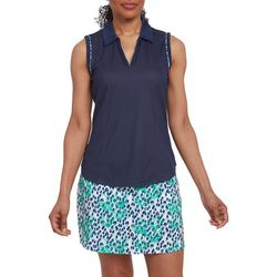 Pebble Beach Womens Solid Piping Detail Sleeveless Shirt