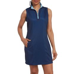 Pebble Beach Womens Mixed Dot Sleeveless Pocket Dress