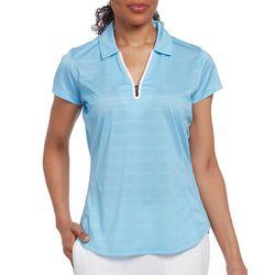 Pebble Beach Womens Short Sleeve Dot Print Polo Shirt