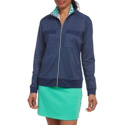 Pebble Beach Womens Solid & Leaf Print Jacket