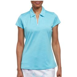 Pebble Beach Womens Solid Embossed Polo Shirt