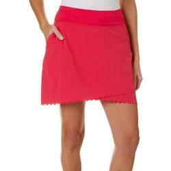 Greg Norman Collection Womens Scalloped Solid Pull On Skort