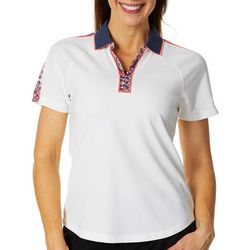 Greg Norman Collection Womens Printed Trim Solid Polo Shirt