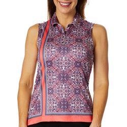 Greg Norman Collection Womens Printed Sleeveless Polo Shirt