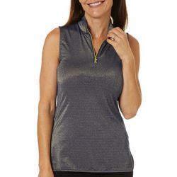 Greg Norman Womens Glitz Lurex Sleeveless Polo Shirt