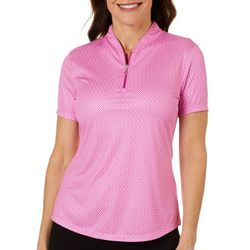 Greg Norman Womens Play Dry Paisley Zip Polo Shirt