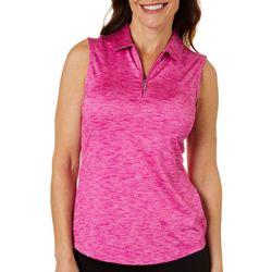 Greg Norman Womens Shimmer Heather Sleeveless Polo Shirt