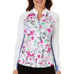 Greg Norman Womens Solar Floral Quarter Zip Polo S