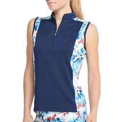 IZOD Golf Womens Sleeveless Firework Trim Polo Shirt