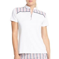 IZOD Golf Womens Seersucker Striped Polo Shirt