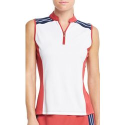 IZOD Golf Womens Colorblock Sleevless Polo Shirt