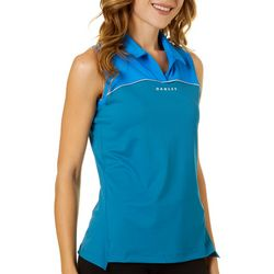 Oakley Womens Solid Colorblock Sleeveless Polo Shirt
